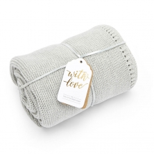 The Little Green Sheep Organic Knitted Cellular Baby Blanket-Dove