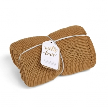 The Little Green Sheep Organic Knitted Cellular Baby Blanket-Honey