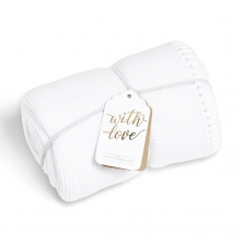 The Little Green Sheep Organic Knitted Cellular Baby Blanket-White