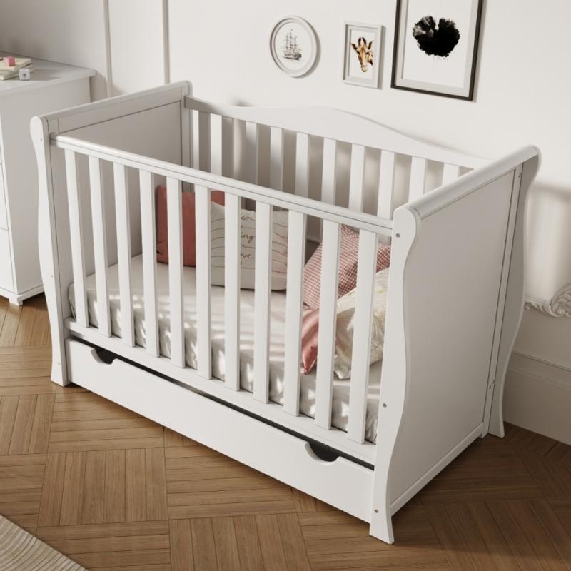 Little Babes Ltd Sleigh Mini Cot Bed-White