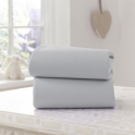 Clair De Lune 2 Pack Fitted Cotton Moses Basket Sheets-Grey