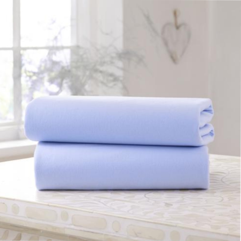 Clair De Lune 2 Pack Cotton Fitted Pram/Crib Sheets-Blue
