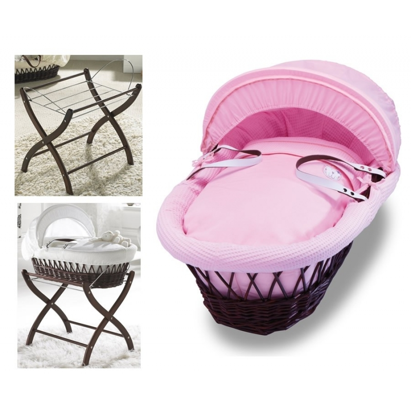 Izziwotnot Dark Wicker Moses Basket-Pretty Pink + Dark Stand!