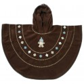 Baby Boum Hooded Fleece Poncho in 'Pichu' design 9-36 months-Choco