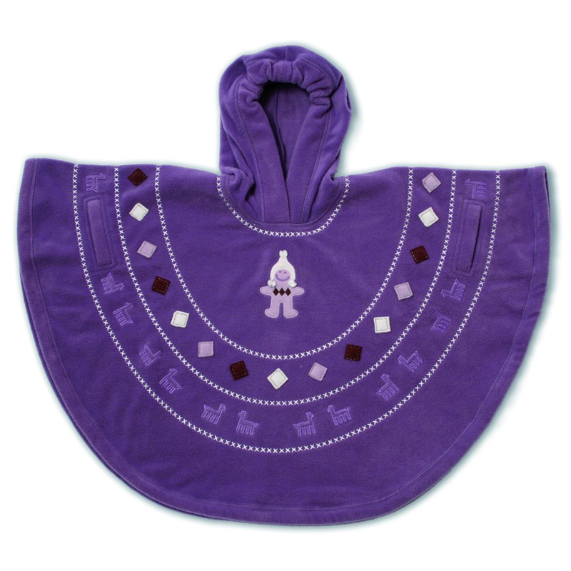 Baby Boum Hooded Fleece Poncho in 'Pichu' design 9-36 months-Grape
