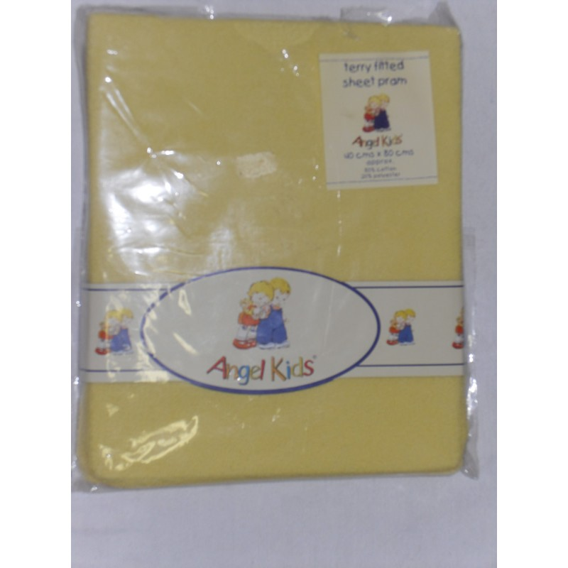 Image of Angel Kids Pram Sheet Terry Fitted-Lemon