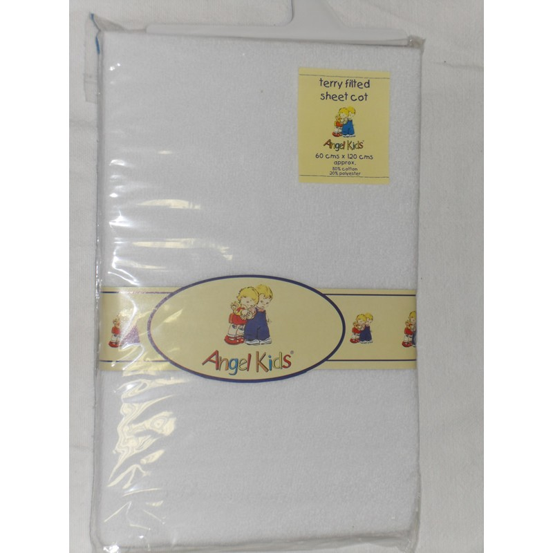Angel Kids Cot Sheet Terry Fitted-White