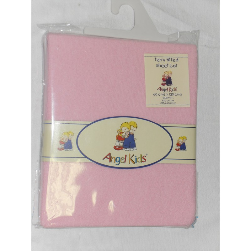 Image of Angel Kids Cot Sheet Terry Fitted-Pink