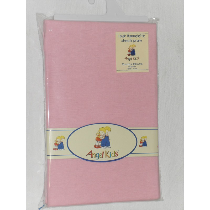 Image of Angel Kids Pram Sheets (Flannelette)-Pink