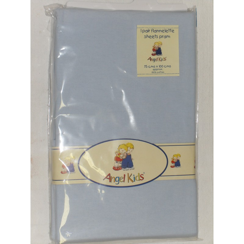 Image of Angel Kids Pram Sheets (Flannelette)-Blue