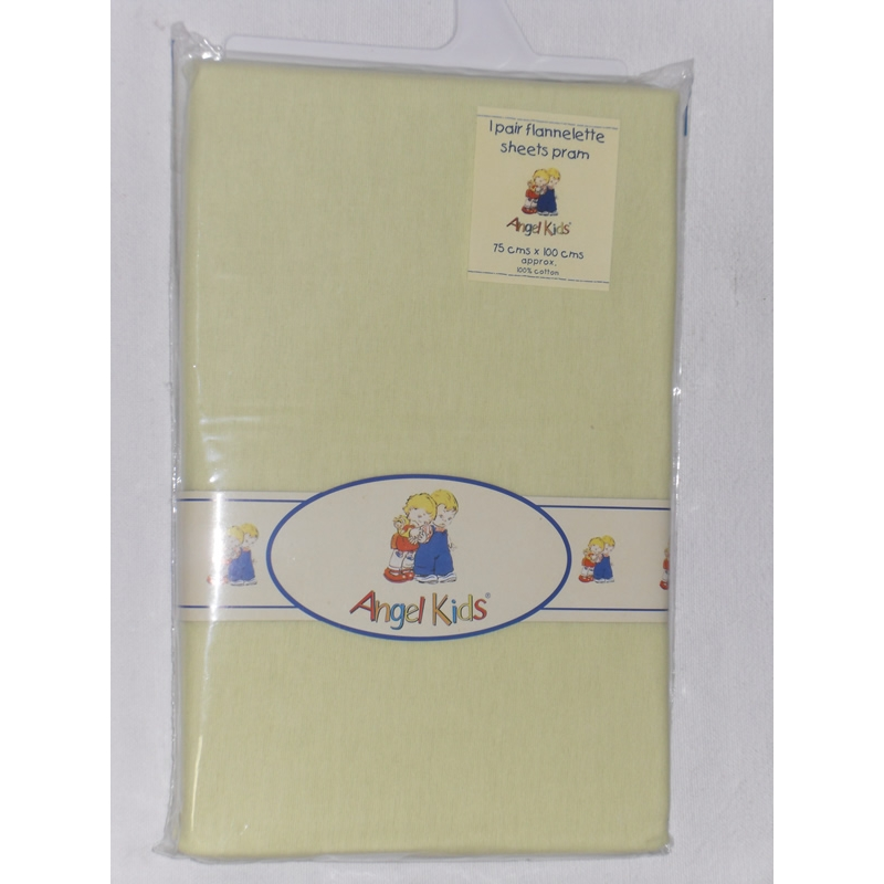 angel-kids-pram-sheets-flannelette--lemon-2-pack