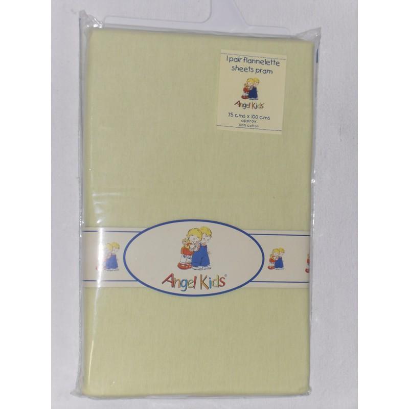 Image of Angel Kids Pram Sheets (Flannelette)-Lemon