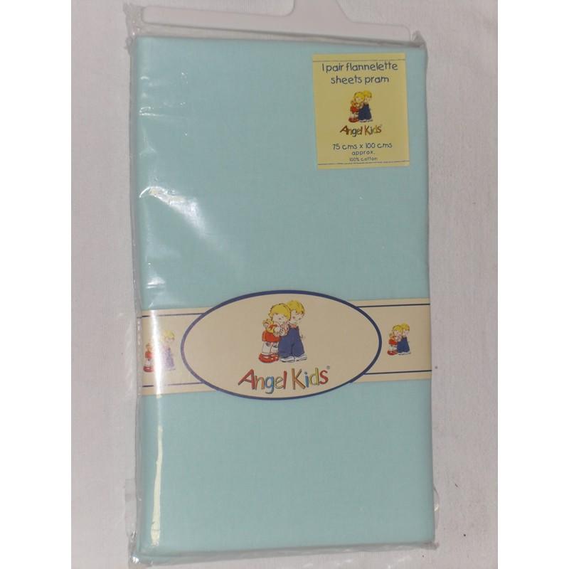 Image of Angel Kids Pram Sheets (Flannelette)-Mint