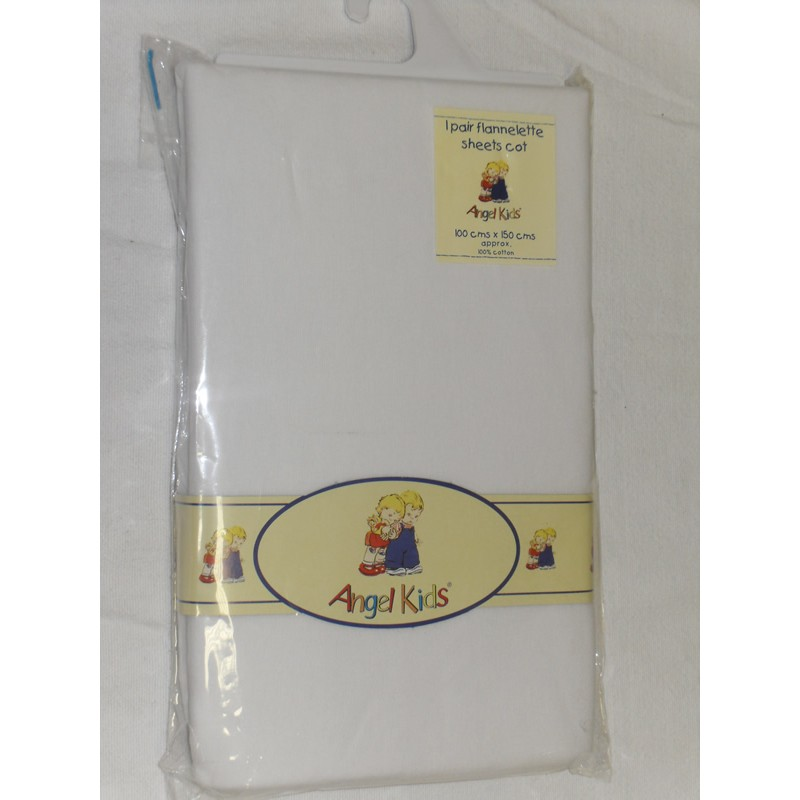 Image of Angel Kids Cot Sheets (Flannelette)-White