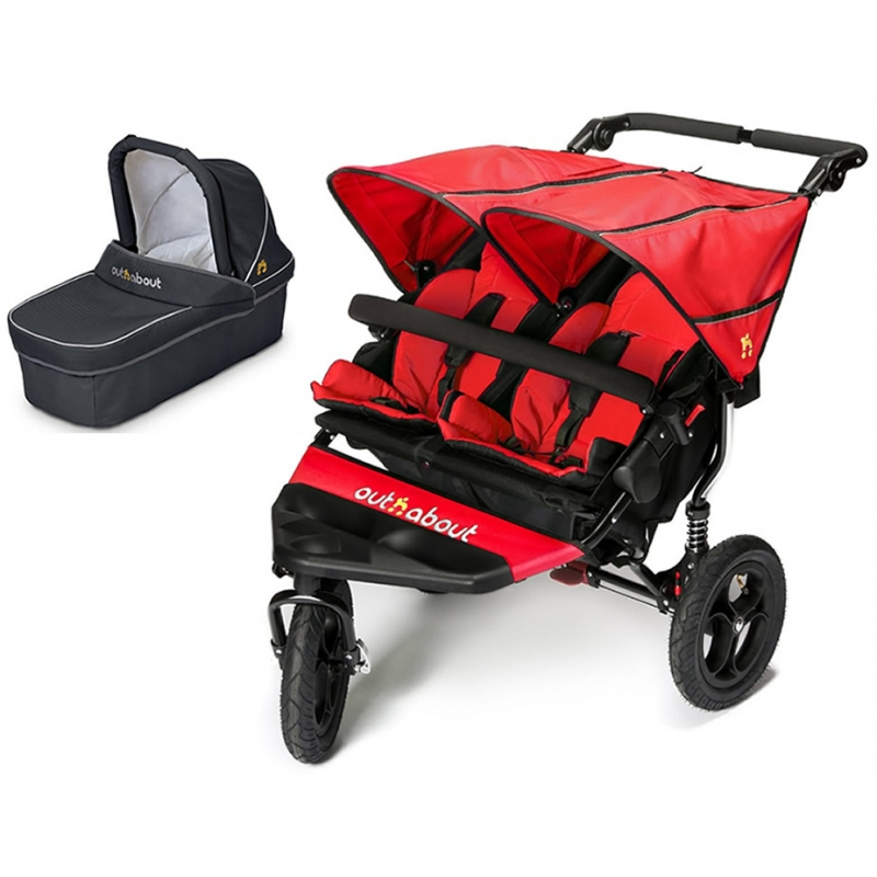 Out n About Nipper Double 360 V4 Pram System-Carnival Red (1 Carrycot)