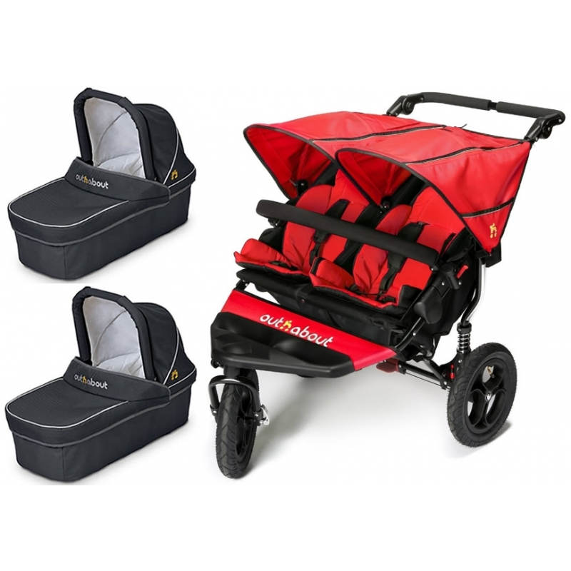 Out n About Nipper Double 360 V4 Pram System-Carnival Red(2 Carrycot)