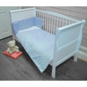 Kiddies Kingdom Deluxe Polka Cotbed Bedding Set-Blue Dot