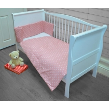 Kiddies Kingdom Deluxe Polka Cotbed Bedding Set-Pink Dot