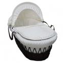 Kiddies Kingdom Deluxe Dark Wicker Moses Basket-Dimple White