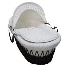 Kiddies Kingdom Deluxe Dark Wicker Moses Basket-Dimple White