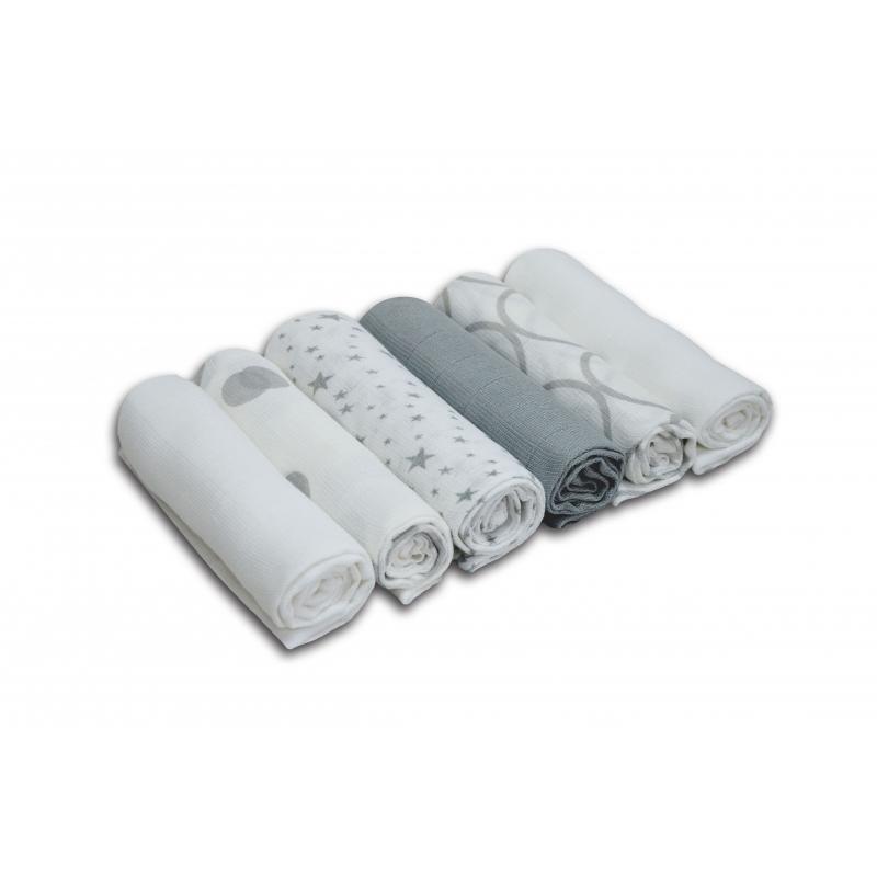 Kiddies Kingdom Deluxe 6 Pack Printed Muslin Squares-Silver & White