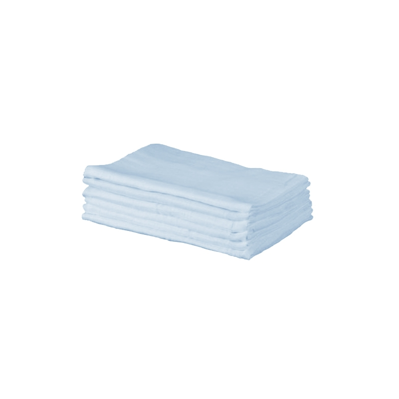 Kiddies Kingdom Deluxe 6 Pack Muslin Squares-Light Blue
