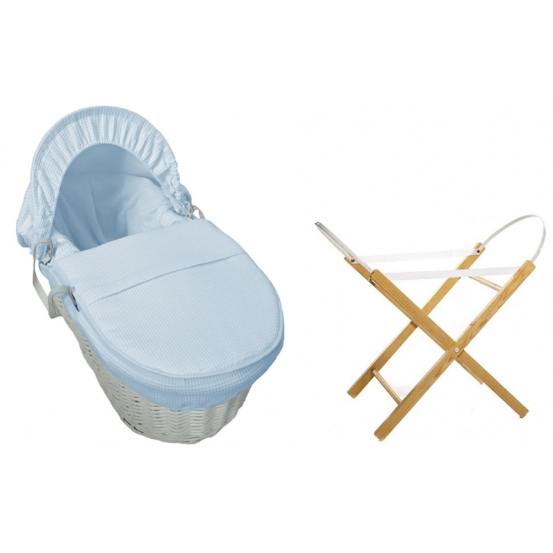 Kiddies Kingdom Deluxe White Wicker Moses Basket-Waffle Blue + INCL Stand!