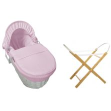 Kiddies Kingdom Deluxe White Wicker Moses Basket-Waffle Pink + INCL Stand!