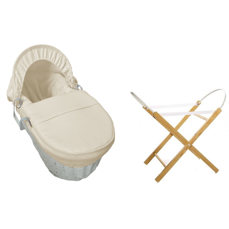 Kiddies Kingdom Deluxe White Wicker Moses Basket-Waffle Cream + INCL Stand!