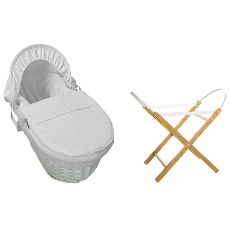 Kiddies Kingdom Deluxe White Wicker Moses Basket-Waffle White + INCL Stand!