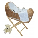 Kiddies Kingdom Deluxe Kiddy-Pod Natural Wicker Moses Basket-Pink