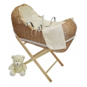 Kiddies Kingdom Deluxe Kiddy-Pod Golden Pine Wicker Moses Basket-Cream
