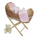 Kiddies Kingdom Deluxe Kiddy-Pod Golden Pine Wicker Moses Basket-Pink