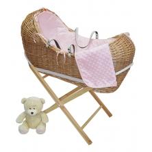 Kiddies Kingdom Deluxe Kiddy-Pod Golden Pine Wicker Moses Basket-Pink