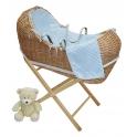 Kiddies Kingdom Deluxe Kiddy-Pod Golden Pine Wicker Moses Basket-Blue