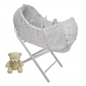 Kiddies Kingdom Deluxe Kiddy-Pod White Wicker Moses Basket-White + Free Stand Worth£25!