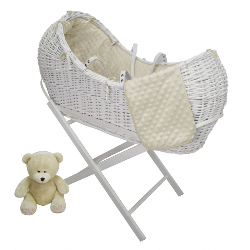 Kiddies Kingdom Deluxe Kiddy-Pod White Wicker Moses Basket-White