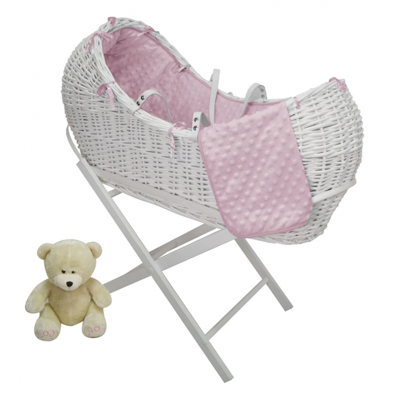 Kiddies Kingdom Deluxe Kiddy-Pod White Wicker Moses Basket-Pink + Free Stand Worth£25!