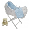 Kiddies Kingdom Deluxe Kiddy-Pod White Wicker Moses Basket-Pink