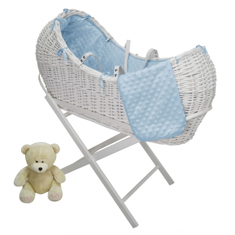 Kiddies Kingdom Deluxe Kiddy-Pod White Wicker Moses Basket-Blue + Free Stand Worth£25!
