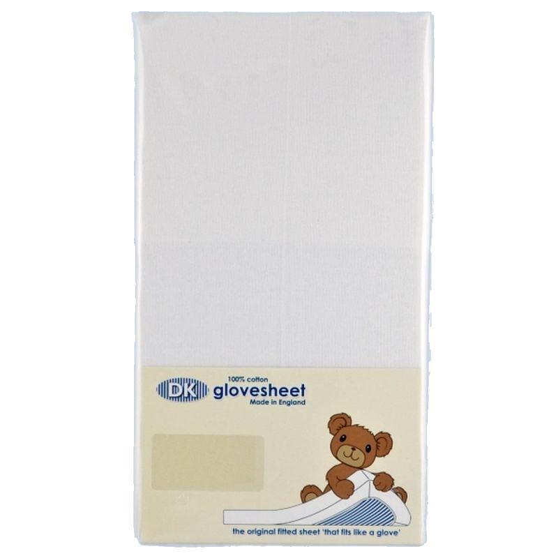 Image of DK Glove Fitted Cotton Sheet for Small Moses Basket 73x30-White