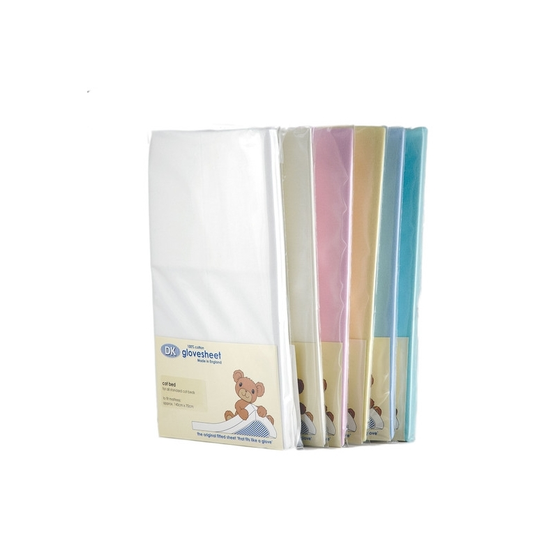 DK Glove Fitted Cotton Sheet for Crib/Heritage Pram 79x38-(7 Colours)