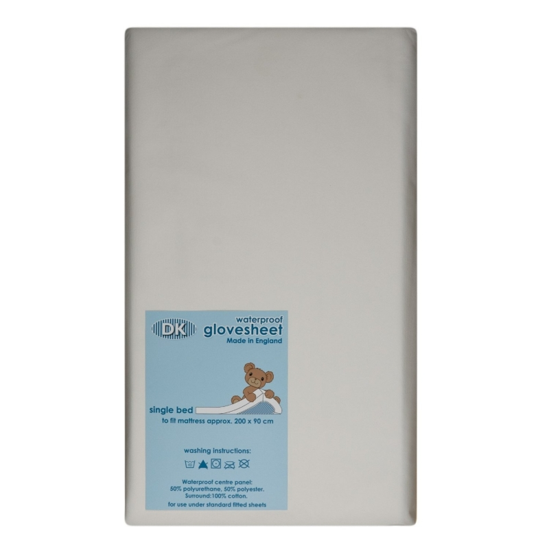 DK Glovesheets Waterproof Fitted Sheet for Single Bed 190x90-White