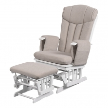 Kub Chatsworth Glider Nursing Chair and Stool-Cappuccino Cushion