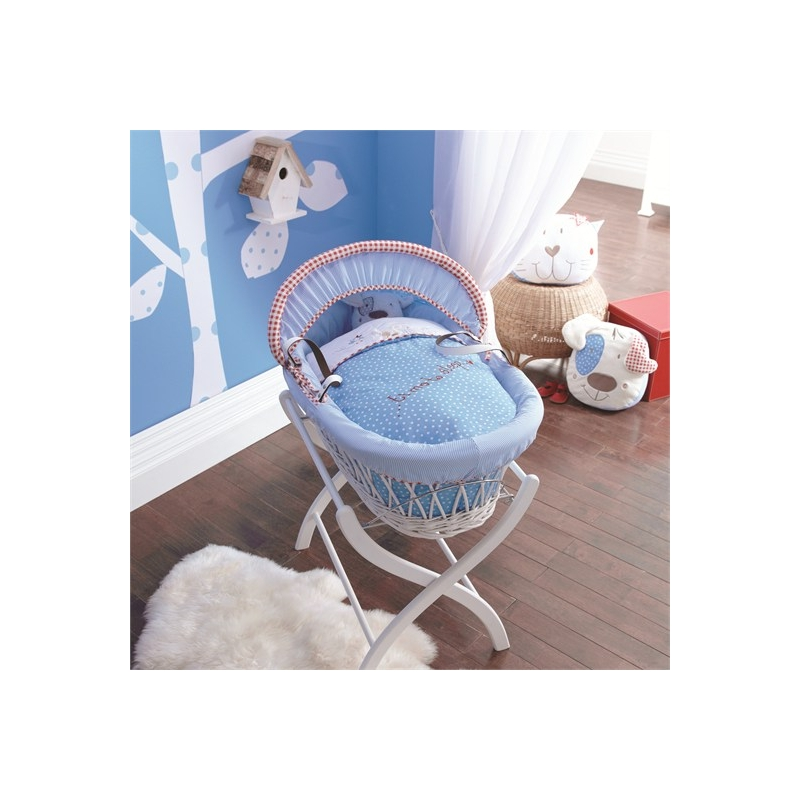 Izziwotnot White Wicker Moses Basket-White Gift + INCL Stand!