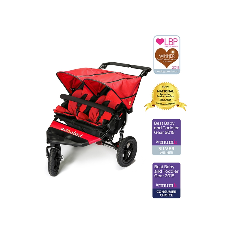 Out n About Nipper Double 360 V4 Stroller-Carnival Red + Free Shopping Basket Worth £ 24.95