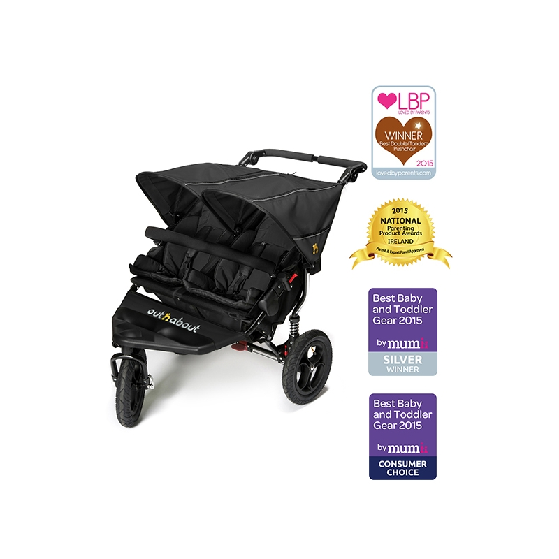 Out n About Nipper Double 360 V4 Stroller-Raven + Free Shopping Basket Worth £ 24.95