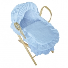 Kiddies Kingdom Dolls Broderie Anglais Moses Basket-Blue