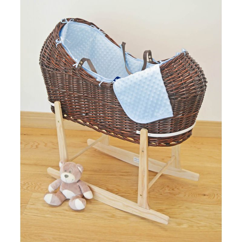 Kiddies Kingdom Deluxe Kiddy-Pod Dark Wicker Moses Basket-Blue + Free Stand Worth£25!