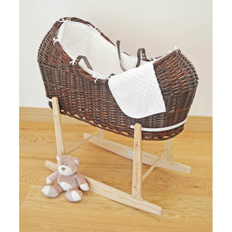 Kiddies Kingdom Deluxe Kiddy-Pod Dark Wicker Moses Basket-White + FREE Fitted Sheet!